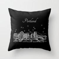 Portland, Oregon City Skyline Throw Pillow