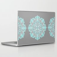Laptop & iPad Skin featuring Teal And Aqua Lace Manda… by Micklyn