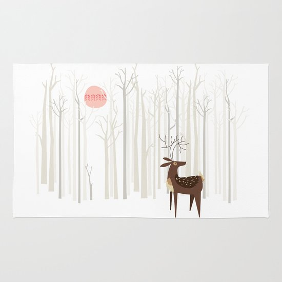Reindeer of the Silver Wood Area & Throw Rug