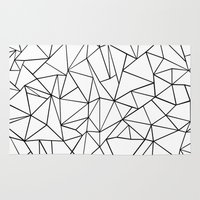 Abstract Outline Black on White Rug