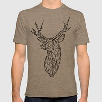 Black Line Faceted Stag Trophy Head Mens Fitted Tee Tri-Coffee SMALL