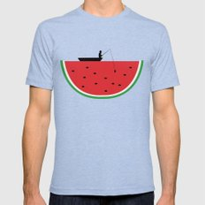 Watermelon Fisher Mens Fitted Tee Tri-Blue SMALL