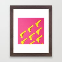 Guns Papercut Framed Art Print