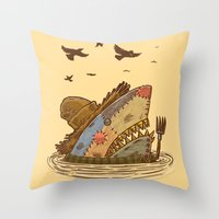The Scarecrow Shark Throw Pillow