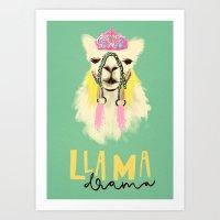 Llama Drama Queen Art Print