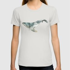 Humpback Whale Womens Fitted Tee Silver SMALL