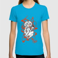 SEX-RETARY Womens Fitted Tee Teal SMALL