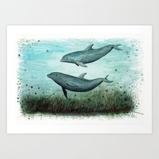 Two Inshore Dolphins ~ Watercolor Art Print