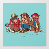 Three Wise Hipster Monkeys Canvas Print