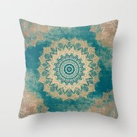 GOLD BOHOCHIC MANDALA IN GREENS Throw Pillow