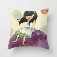 a bubble girl Throw Pillow