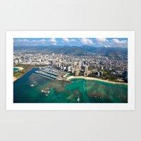 Aerial View Of Waikiki B… Art Print