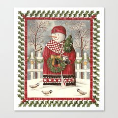 Holly Jolly Snowman Canvas Print
