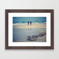 Surfers at Gold Coast beach Framed Art Print