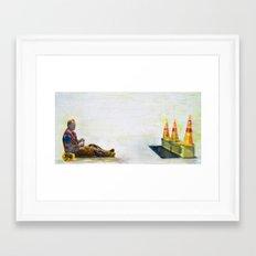 construction man on break Framed Art Print