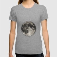 The Moon  [Sans Type] Womens Fitted Tee Tri-Grey SMALL