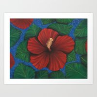 Tropical Hibiscus In Red… Art Print