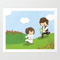 SW Kids - Han Chasing Le… Art Print