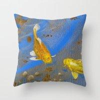 Pair Of Golden Koi Throw Pillow