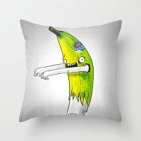 Banana Zombie Throw Pillow