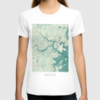boston T-shirts featuring Boston Map Blue Vintage by City Art Posters