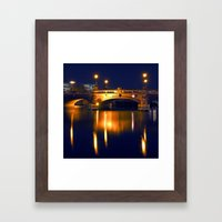 Nocturnal Lights on the river Spree in Berlin Framed Art Print