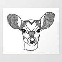 Monochrome Deer by Ashley Rose Art Print