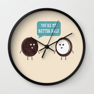 Wall Clock featuring Better Half by Teo Zirinis