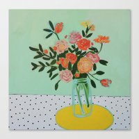 Floral and Dots Canvas Print
