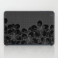 Cherry Blossom Grid Black iPad Case