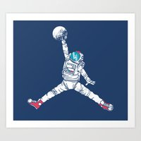 wolf Art Prints featuring Space dunk by Steven Toang