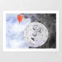 Moon And The Balloon Art Print