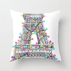 Paris Eiffel Tower Holiday Lights Multi Throw Pillow