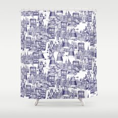 Doctor Who Toile de Jouy | 'Walking Doodle' | Blue Shower Curtain