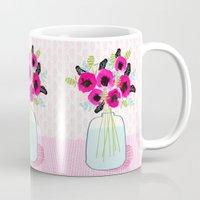 Poppies Vase of flowers cut flower mother's day cute florals illustration Andrea Lauren  Mug