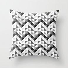 Chevron Facet Black & White Throw Pillow