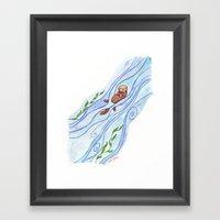 Sea Otter In Love Framed Art Print