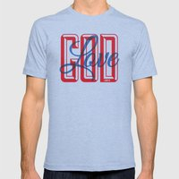 God is Love Mens Fitted Tee Tri-Blue SMALL