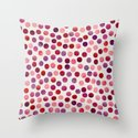 Watercolor Dots_Berry by zJacqueline and Garima Throw Pillow