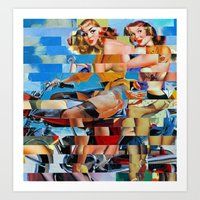 Glitch Pin-Up: Zelda & Z… Art Print