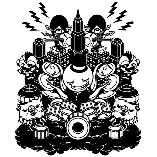Octopus Drummer 2010 Art Print