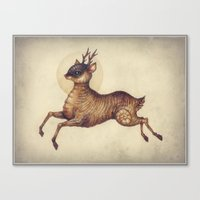 Deer in Leap Canvas Print
