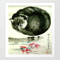 cunning cat Art Print