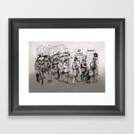 Framed Art Print featuring Queue by RiversAreDeep