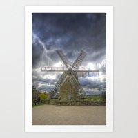 Heage Windmill Storm Art Print