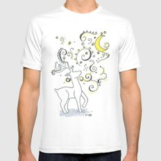 Deer Design White SMALL Mens Fitted Tee