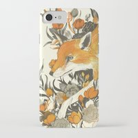 fox iPhone & iPod Cases featuring fox in foliage by Teagan White