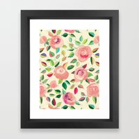 Pastel Roses in Blush Pink and Cream  Framed Art Print