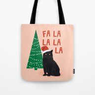 Black Cat Cute Fa La La … Tote Bag