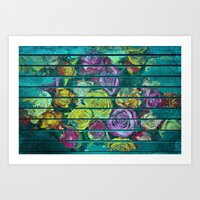 Shabby Colored Roses on Teal Wood Art Print